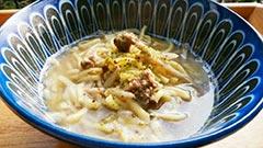 犬猫の馬肉を使ったレシピ「馬ミンチとごぼうのやわらか麺」