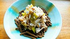 犬猫の鶏肉を使ったレシピ「冷なすとささみの豆腐和えのせ」