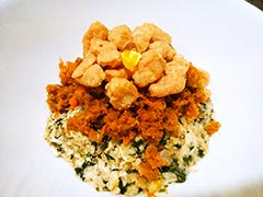 犬猫の腎臓病におすすめレシピ「根菜とチキンビッツのせごはん」