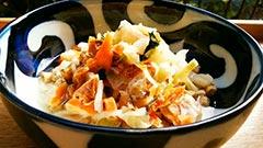 犬猫の食欲不振におすすめレシピ「鮭の石狩鍋風汁かけご飯」