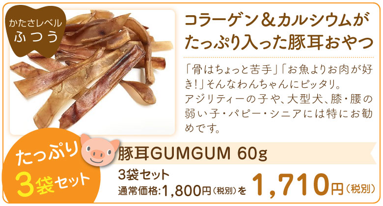 【歯の健康キャンペーン】豚耳GUMGUM 60g ×3袋セット